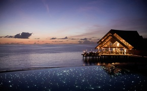 Картинка pool, ocean, sunset, romantic, Maldives, paradise, deck