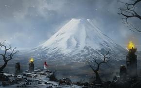 Обои гора, снег, арт, рыжая, пик, метель, девушка, blinck, камни, огонь