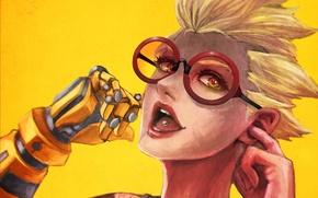 Картинка девушка, улыбка, рука, наушники, очки, протез, fan art, casual, Overwatch, Junkrat