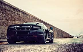 Картинка vehicle, highway, street, металлик, дорога, машины, city, город, cars, sports, outdoors, black, car, McLaren MP4-12C, ...