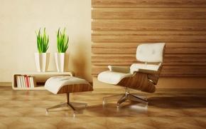 Обои дизайн, зеленый, стиль, комната, интерьер, растения, кресло, квартира