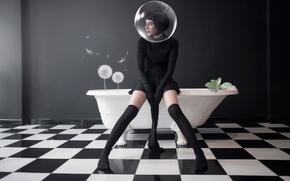 Картинка девушка, ванна, одуванчики