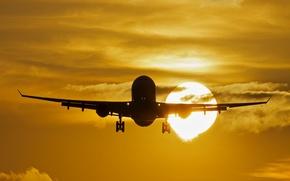 Картинка Закат, Солнце, Самолёт, Пассажирский, Airbus, A330