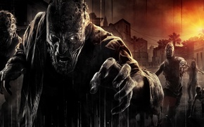 Картинка Закат, Дома, Взгляд, Зомби, Ситуация, Techland, Warner Bros. Interactive Entertainment, Умирающий Свет, Dying Light