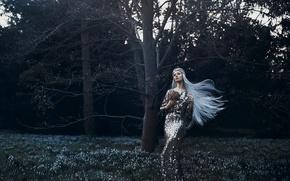 Картинка лес, девушка, весна, платье, подснежники, spring awakening