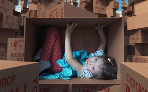 Картинка фантазия, коробка, девочка