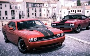 Картинка город, рендеринг, фон, Dodge, Challenger, передок, Muscle car, Мускул кар