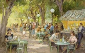 Картинка деревья, люди, картина, аллея, жанровая, Марсель Диф, Кафе на Елисейских Полях