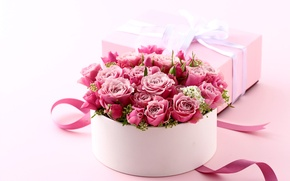 Картинка flowers, heart, коробка, подарок, букет, Valentine's Day, gift, розы, romantic, pink, roses, love, розовые