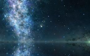 Картинка небо, космос, звезды, отражение, арт, iy tujiki