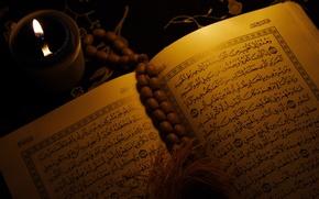 Картинка Арабская вязь, религия, свеча, Ислам, книга, Коран