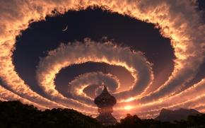 Картинка лес, небо, солнце, космос, звезды, облака, пейзаж, закат, природа, башня, спираль, вечер, 3-D, купол, строение, ...