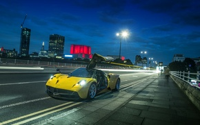 Картинка ночь, суперкар, street, Pagani Huayra, hypercar