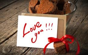 Картинка надпись, сердце, печенье, сердечки, ленточка, карточка, love you