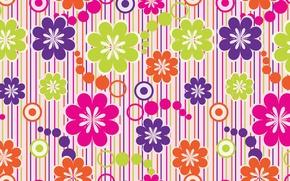 Обои полоски, цветы, цветочки, текстуры