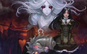 Картинка девушка, замок, голова, единорог, нож, красные глаза, рог, alice in wonderland