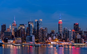 Картинка city, lights, USA, Brooklyn, night, New York, Manhattan, reflection, skyscrapers
