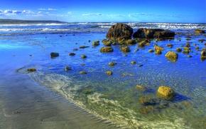 Картинка море, волны, небо, камни