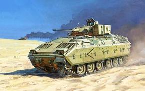 Картинка war, art, painting, M2 Bradley, Bradley Fighting Vehicle, american tank