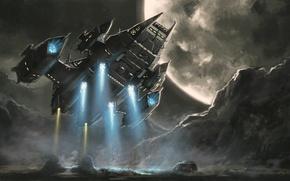 Картинка машина, корабль, планета, пыль, арт, посадка