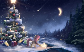 Картинка зима, снег, праздник, луна, арт, подарки, пони, ёлка