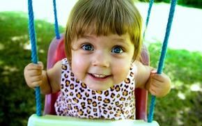 Обои радость, улыбка, ребенок, девочка, качеля