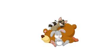 Картинка фон, сон, мишка, енот, зайчик, друзья, детская. арт