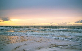 Обои море, солнце, волны, восход