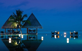 Картинка pool, beach, ocean, evening, tropical, dining