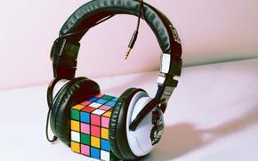 Обои стиль, кубик Рубика, наушники