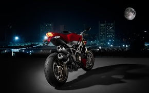 Картинка город, мото, Ночь, Ducati