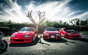 Картинка красные, red, supra, Toyota, трио, tuning, тойота, супра