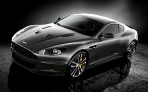 Картинка отражение, Aston Martin, Астон Мартин, полумрак, спец.версия, ДБС, суперкар, Ultimate, чёрный, передок, DBS
