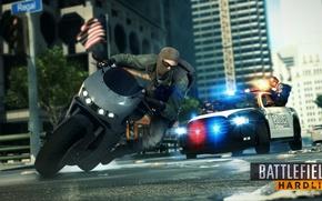 Картинка дорога, машина, погоня, мотоцикл, Electronic Arts, Visceral Games, Dice, Battlefield: Hardline
