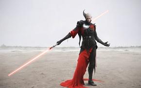 Картинка воин, доспехи, пустыня, Звездные Войны, Dark Side, Star wars, световой меч, Cитх, Sith, art by ...