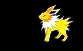 Картинка желтый, электрический, покемон, pokemon, jolteon, неоновые линии, джолтеон
