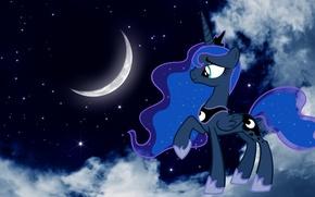 Картинка звезды, ночь, Луна, пони, мультфильмы, принцессы, ночное небо, My little pony, MLP, Принцесса Луна