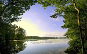Картинка облака, деревья, озеро