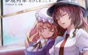 Картинка шляпа, чепчик, галстук, окно, maribel han, essual, закрытые глаза, art, проект Восток, сон, touhou, renko …