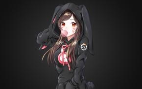 Картинка девушка, темный фон, кофта, ушки, жевательная резинка, overwatch, d.va