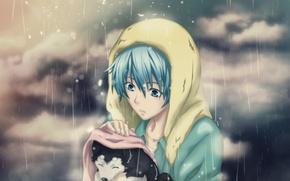 Картинка грусть, дождь, настроение, собака, аниме, щенок, парень, забота