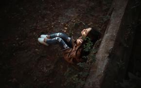 Картинка город, парк, одиночество, фон, джинсы, Москва, Ольга