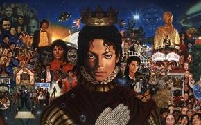 Обои арт, Michael Jackson, корона, коллаж, Майкл Джексон, рисунок, танцор, звезда, перчатка, певец, знаменитость