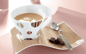 Картинка стол, тарелка, ложка, чашка, напиток