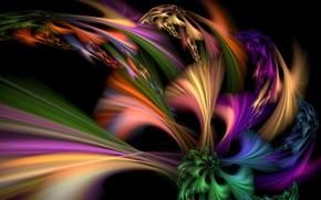 Картинка фон, темный, разноцветные, краски.