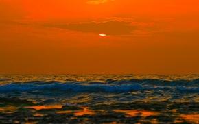 Обои небо, облака, закат, море, горизонт