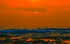 Картинка море, волны, небо, горизонт, облака, закат