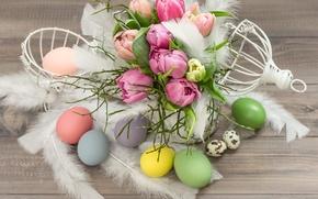 Картинка цветы, яйца, Пасха, тюльпаны, пасхальные яйца