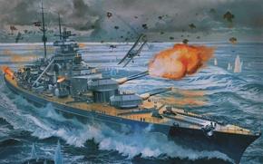 Картинка Стрельба, Крейсер, Небо, Bismarck, Рисунок, Битва, Линкор, Корабль, Море, Самолет