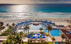 Картинка пляж, пальмы, океан, вечер, бассейн, курорт